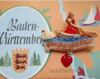 German Vintage Hat Pin Brooch Jewelry Souvenir Pin from Konstanz Bodensee Germany with the Fisherwoman from the Bodensee