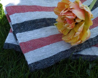 """Linen Kitchen Towels Set of 2 16 1/2""""x23 1/2"""" Natural Grey, Red and Black Stripped Washed Wrinkled"""