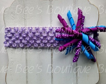 purple and teal korker bow set with crochet headband