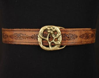 ViNtAgE 60's 70's Roses Brass Belt Buckle Hand Tooled Leather Belt MoD Rocker
