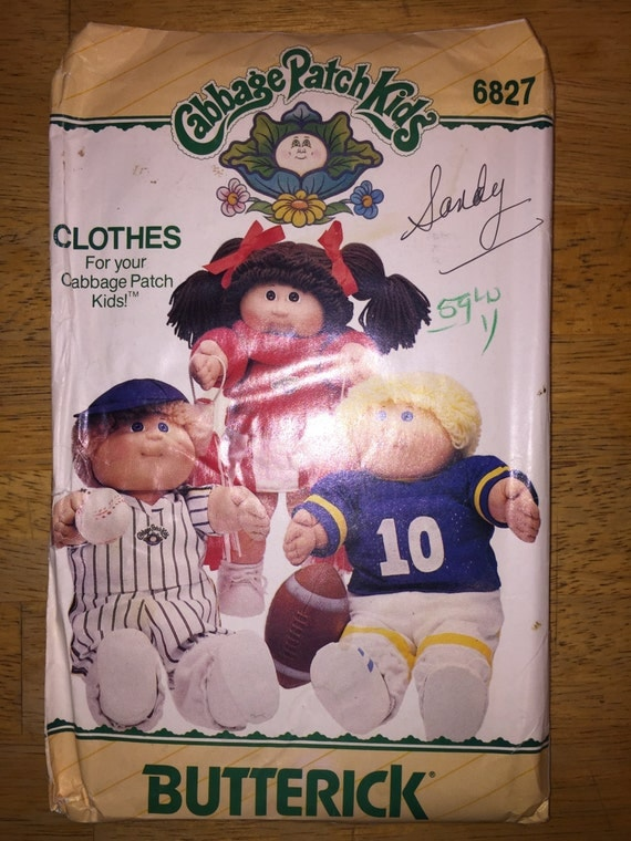 Butterick Sewing Pattern 6827 Cabbage Patch Kids Doll Clothes Football, Baseball and Cheerleader Outfits