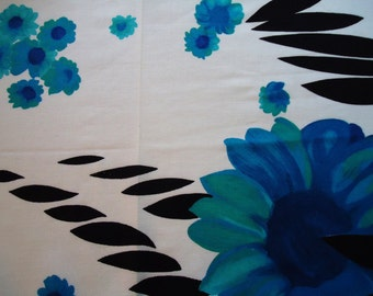 Black and Blue Flowered Design in Detail Polyester Cotton Blend Fabric Material