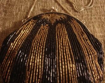 Vintage 1980s Boho Gold & Black Sequin Beaded Embellished Boho Chain Strap Purse