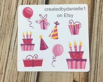 Pink Birthday Sticker Sampler, Birthday Planner Stickers, Birthday Party Planner Stickers, set of 9
