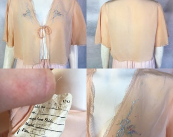 SALE! 1930s embroidered bed jacket