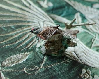 Vintage FM Painted Pewter Bird Linnet Carduelis Cannabina Figurine - 1983