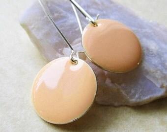 20% off sale Dangle Drop Earrings - Pastel Peach Epoxy Enamel Circle Discs - Sterling Silver Plated over Brass (F-3)