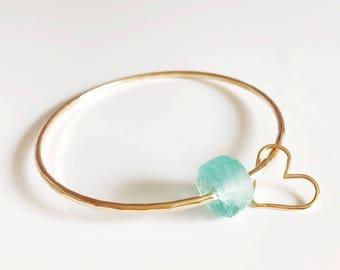 Bangle HINA - Beach glass bangle - aqua sea glass bangle - beach jewelry - beach glass bracelet (B261)