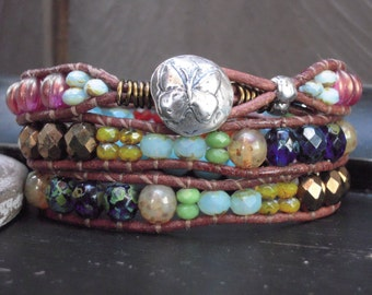Leather wrap bracelet butterfly colorful semi precious gift idea for her fun boho jewelry by ALadysBliss