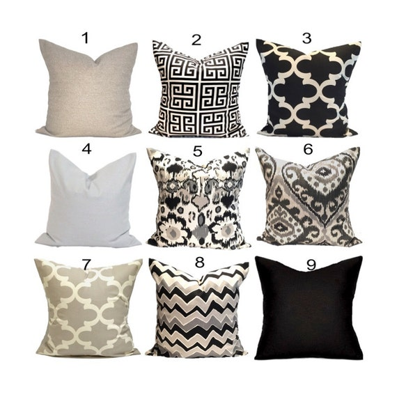 All Black Throw Pillows : Black Pillows Black Pillow Covers ALL SIZES Black
