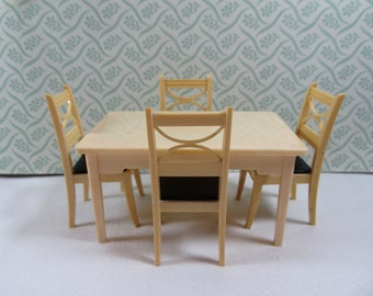 Vintage Renwal  Brown Seat Chairs and Kitchen Table Set, Renwal  Dollhouse Kitchen Table and Chairs, Marx Ideal Kitchen,Dollhouse Collectors