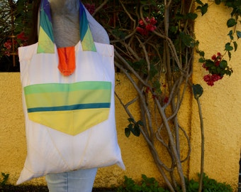 White with rainbow Upcycled/Recycled Tote Bag from Broken Umbrella