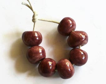 Maroon beads, handmade clay beads,  African Beads, boho beads, 7 large maroon beads, extra large beads, bohemian, tribal beads, stoneware
