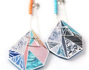 Snowflake sunset - new triangle art pendant