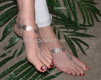 Women's Beach Wedding Barefoot Sandals Shoes Wedding Anklet Sandal Shop Foot Body Ankle Jewelry Footwear Silver Feet Jewelry Ideas Themes