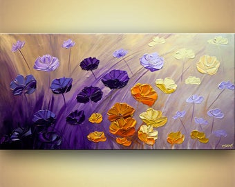 Canvas Art - Stretched, Embellished & Ready-to-Hang Print - The Garden - Art by Osnat