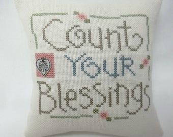 Count Your Blessings Cross Stitch Mini Pillow Shelf Pillow