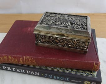 Small Vintage Silver Tone Rectangle Jewellery Box , Beautifully Embossed Trinket Box