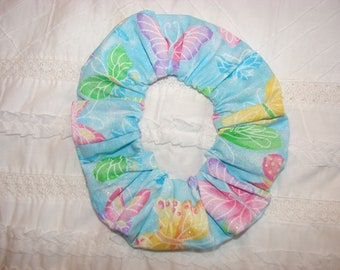 Sparkle Pastels Butterfly Fabric Handmade Hair Scrunchie, spring hair ties, women's scrunchies, butterflies insects, summer fabrics, gifts