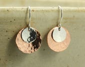 Hammered Copper and Silver Earrings, Sterling Silver Earrings, Hammered Silver Earrings, Hammered Copper Earrings, Hammered Earrings