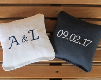 Personalized Wedding Cornhole Game Bags - Initials and Date - Set of 8 Shown in White and Navy Blue