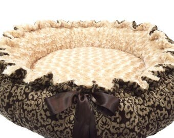 Matching Blanket and Round Dog Bed, Round Pet Bed, Brown Damask Minky Dog Bed, Damask Pet Bed, Damask Kitty Bed, Damask Cat Bed, Small