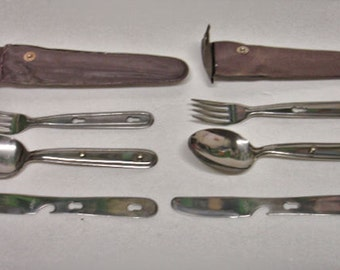 Vintage 2 Sets Camping Knife Spoon Fork Stainless Steel Japan Used Buy Boys Scouts BSA
