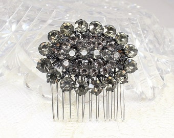 Charcoal Bridal comb-Wedding Hairpiece- Rhinestone Hair Clip- Charcoal Hairpiece-Rhinestone Bridal Comb-Charcoal Hair Clip -Hair accessories