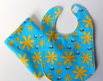 FINAL CLEARANCE Clearance Honey Bee Bib and Burp Cloth Set - Yellow Flower on Teal