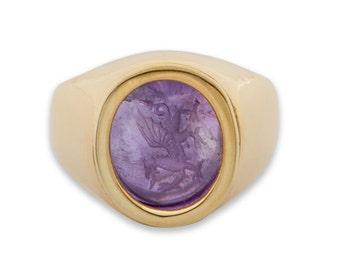 Celtic Ring Welsh Dragon Hand Engraved Amethyst Genuine Gemstone Gold Plated Sterling Silver 925
