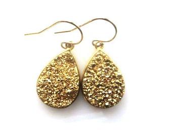 Gold Druzy Tear Drop Boho Earring