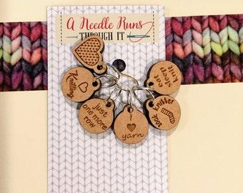I love knitting Stitch markers set, sock knitter, knitter gift.