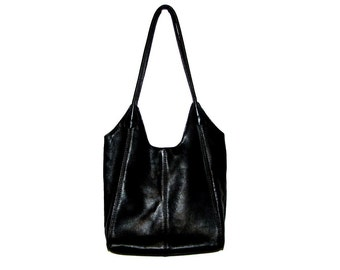 Vintage 90s Black Genuine Leather Shoulder Tote Bag