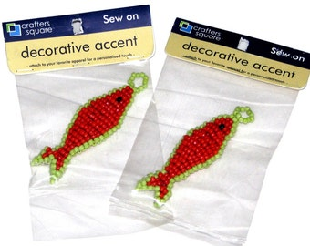 Lot of Two Crafters Square Red & Green Beaded Fish Decorative Accents