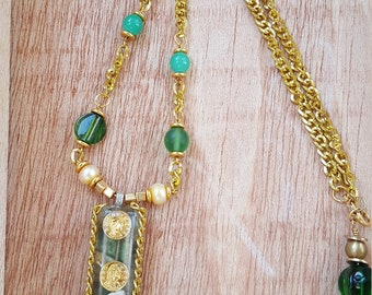 Good Fortune Necklace 'Family Money' Green and Gold Necklace Good Luck Gift Gold Coin Pendant Gifts for a Friend