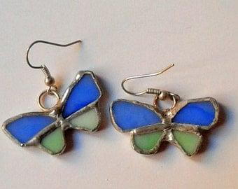 Blue butterfly earrings in stained glass