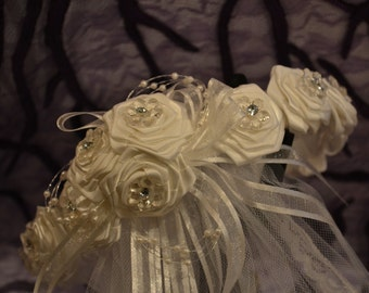 1st Communion Headpiece Crown White Satin Flowers with Small Flowers and Rhinestones, Ribbon and Veil