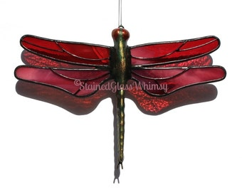 Reserved Listing for Gwen: 3 Stained Glass DRAGONFLY Suncatchers, Cranberry/White and Aqua/Turquoise Wings, USA Handmade