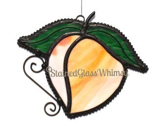 Stained Glass PEACH Suncatcher - Peach with White & Yellow ; Fruit Stained Glass - USA Handmade Original Design, Peach Ornament