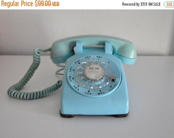 ON SALE Vintage Blue 4 prong Rotary Phone Working Telephone Bell System Western Electric