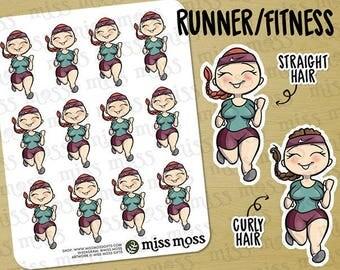 Light Skin Running Exercise Gym Time Planner Stickers White Caucasian Asian - Erin Condren, Happy Planner, Kikki K, Filofax, Decorative