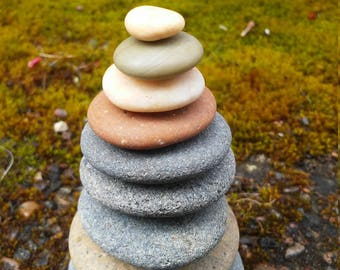 Natural Beach Stone Stack 9 Flat Ocean Rocks Zen Stones Beach Home Decor Fountain Stones Yoga Meditation Natural Gift Zen Garden Sculpture