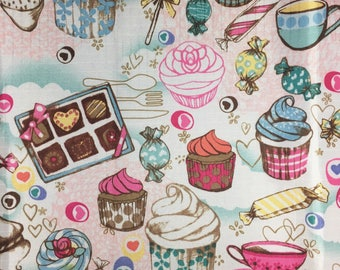 Vinyl Waterproof Patisserie Paris Cupcake Candy Laudree Print Fabric