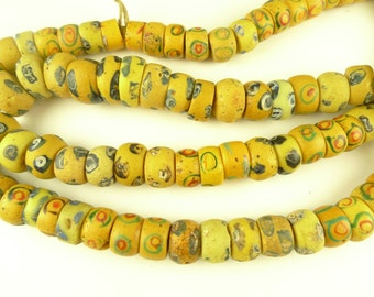 """30"""" strand matched yellow 'eye' Venetian tribal beads old African trade AC-0093"""