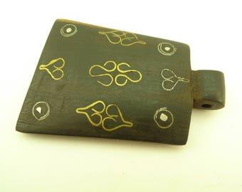 handmade inlaid ebony wood metal pendant trade bead Africa tribal unique AB-0138