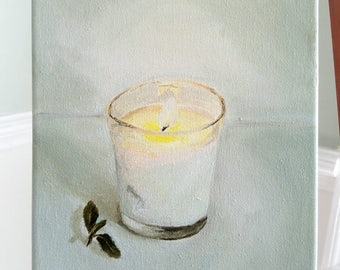 First Light, Oil on Canvas, 8x10 inches Original oil painting Still Life Study Candle painting by Stephanie Berry
