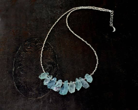 Raw Aquamarine Necklace. Rough Aquamarine and Hill Tribe Silver Necklace. Also in gold. March Birthstone. N-2340