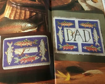 Father 's Day Trout Fishing Card / Box - Cross Stitch Pattern Only