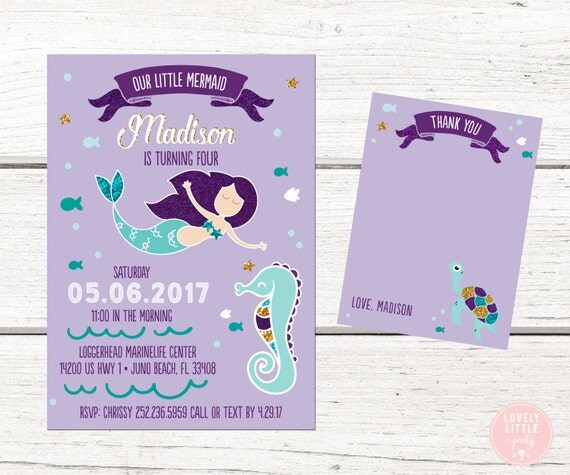 Our Little Mermaid Party invitation, Mermaid Invitation Kit  - Invite AND Thank You Card included -Printable or Printed Option