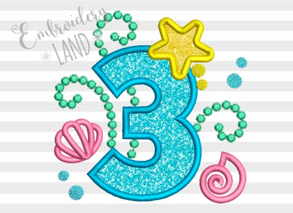 Cute Mermaid Sea Number 3 Applique Embroidery Design For